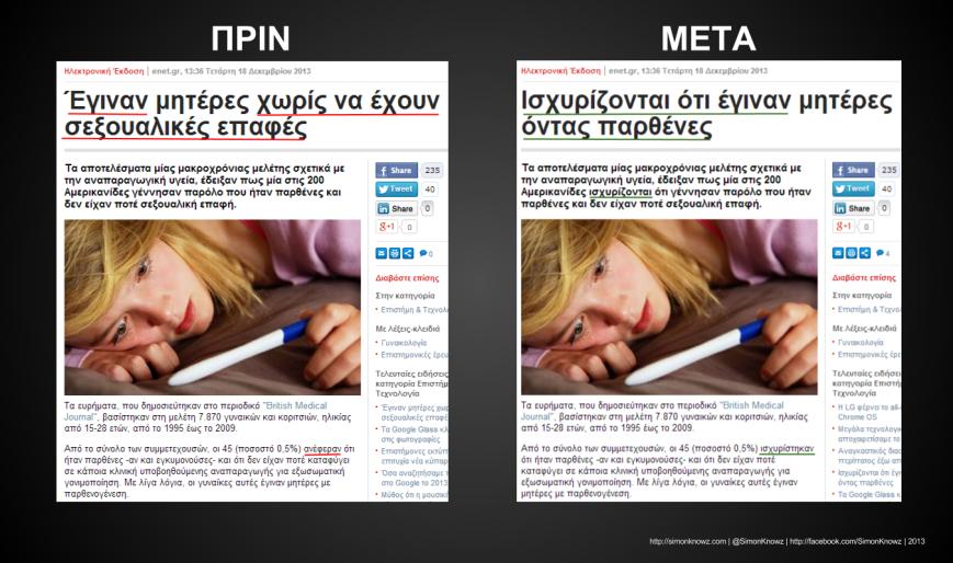 screencaps με Σύγκριση δημοσιέυματος ελευθεροτυπίας Πριν με Μετά
