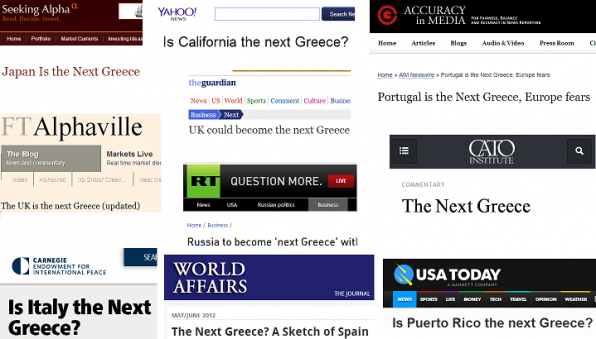 "news site headlines featuring the ""next Greece"" trope for various other locales"