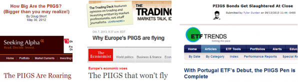 news site headlines that incorporate 'PIIGS' puns