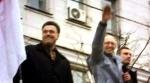 ο Αρσένι Γιατσενιούκ (κέντρο) δίπλα στους ηγέτες άλλων κομμάτων της αντιπολίτευσης Όλεχ Τιάνιμποχ (στα αριστερά) και Βιτάλι Κλίτσκο στα δεξιά (στα δεξιά)