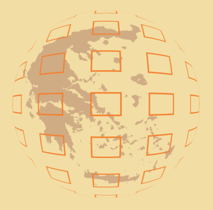 Map of Greece with a box grid superimposed in a spherical shape