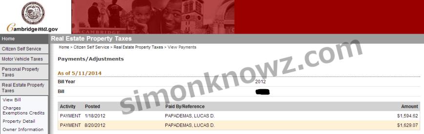 πληρωμές στον λογαριασμό του φόρου ακίνητης περιουσίας 2012 για το διαμέρισμα του Λουκά Παπαδήμου στο Κέιμπριτζ της Μασαχουσέτης των ΗΠΑ