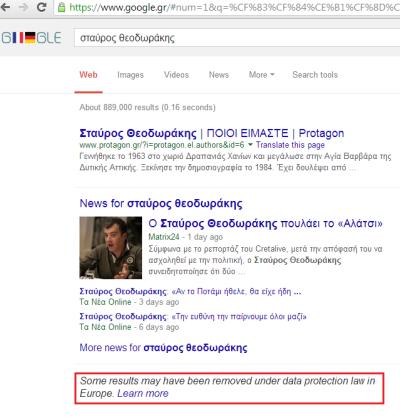 """αποτελέσματα στο google.gr για αναζήτηση """"σταύρος θεοδωράκης"""" με επισήμανση ότι έχει αφαιρεθεί κάποιο αποτέλεσμα"""