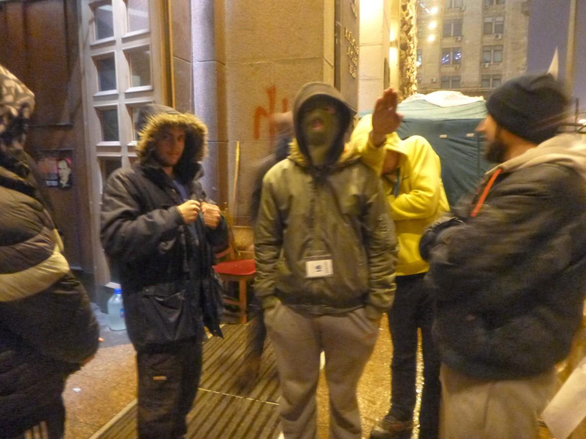 Person doing a seig heil during Euromaidan but hiding their face