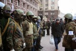 Armed protesters outside Kiev city hall during Euromaidan protests