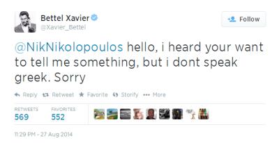 Xavier Bettel tweet in response to Nikos Nikolopoulos